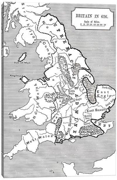 Map of Britain in 626, from The Northumbrian Kingdom 588 to 685 in 'A Short History of the English People' by J. R. Green, publi Canvas Art Print