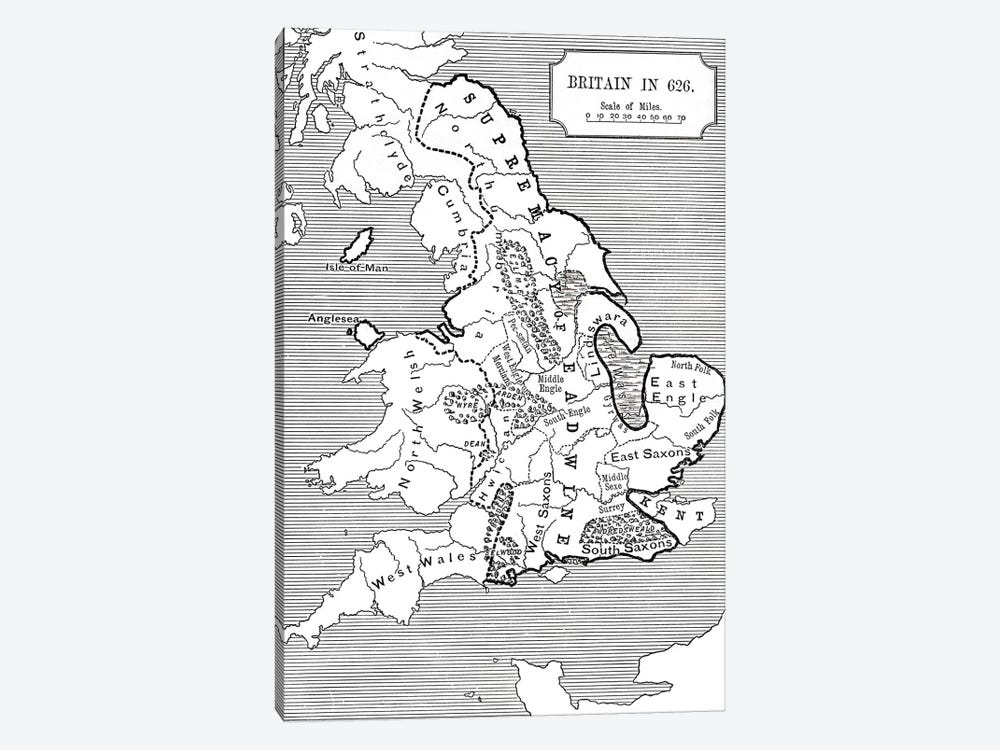 Map of Britain in 626, from The Northumbrian Kingdom 588 to 685 in 'A Short History of the English People' by J. R. Green, publi by English School 1-piece Art Print