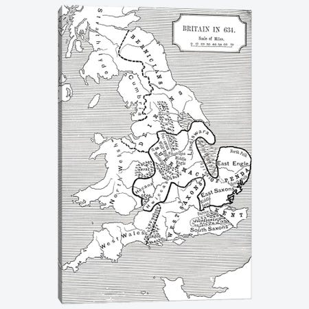 Map of Britain in 634, from The Northumbrian Kingdom 588 to 685 in 'A Short History of the English People' by J. R. Green, published 1893  Canvas Print #BMN5327} by English School Canvas Print