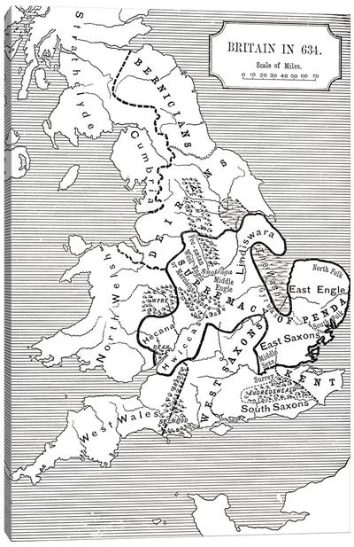Map of Britain in 634, from The Northumbrian Kingdom 588 to 685 in 'A Short History of the English People' by J. R. Green, publi Canvas Art Print