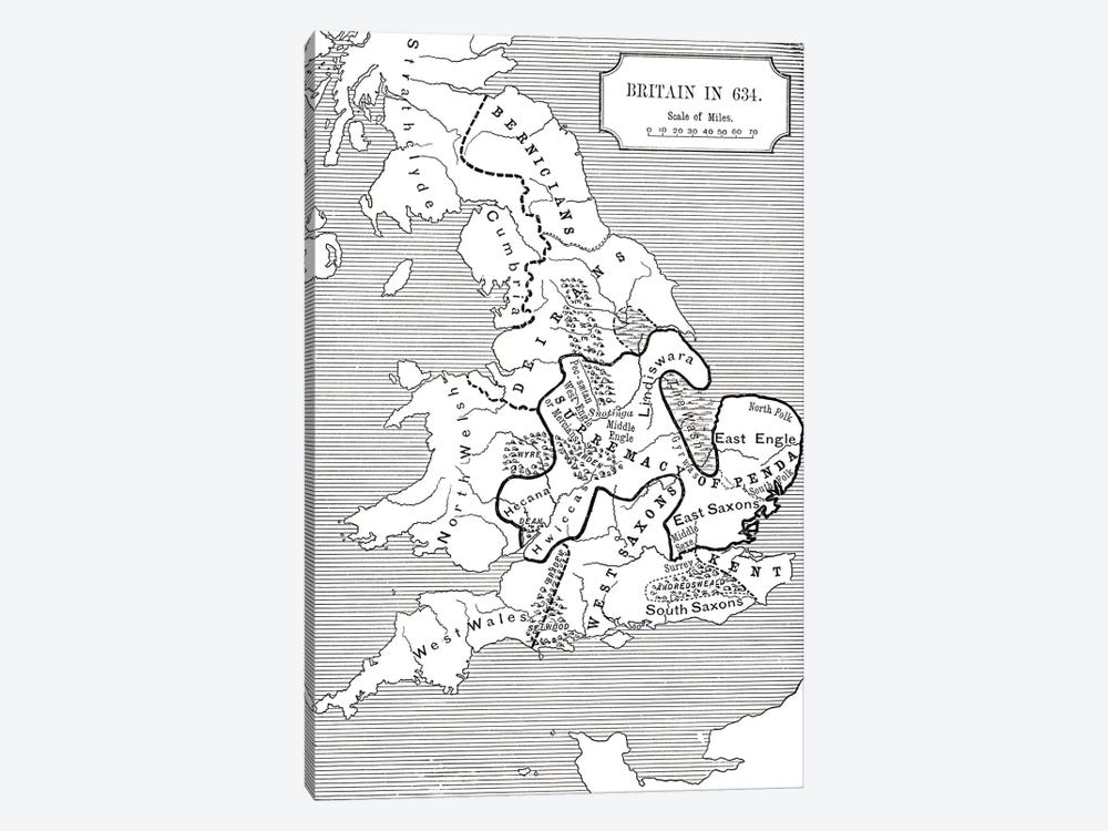Map of Britain in 634, from The Northumbrian Kingdom 588 to 685 in 'A Short History of the English People' by J. R. Green, publi by English School 1-piece Canvas Artwork