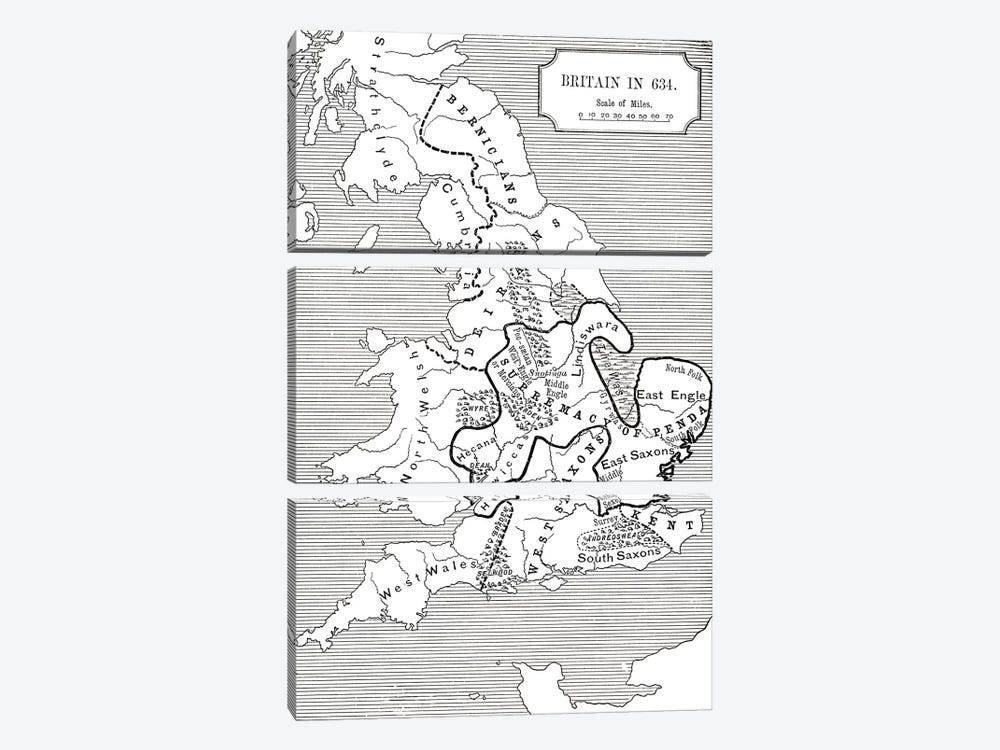 Map of Britain in 634, from The Northumbrian Kingdom 588 to 685 in 'A Short History of the English People' by J. R. Green, publi by English School 3-piece Canvas Artwork