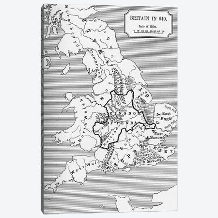 Map of Britain in 640, from The Northumbrian Kingdom in 'A Short History of the English People' by J. R. Green, published 1893  Canvas Print #BMN5328} by English School Canvas Art