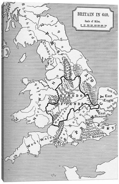 Map of Britain in 640, from The Northumbrian Kingdom in 'A Short History of the English People' by J. R. Green, published 1893 Canvas Art Print