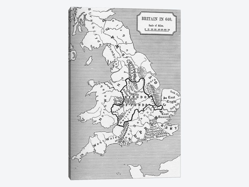 Britain In 640, The Northumbrian Kingdom 588 To 685, A Short History of the English People by English School 1-piece Canvas Art Print