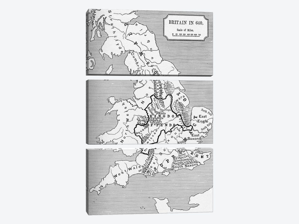 Britain In 640, The Northumbrian Kingdom 588 To 685, A Short History of the English People by English School 3-piece Canvas Art Print