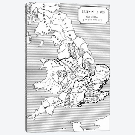 Map of Britain in 665, from The Northumbrian Kingdom 588 to 685 in 'A Short History of the English People' by J. R. Green, published 1893  Canvas Print #BMN5329} by English School Canvas Wall Art