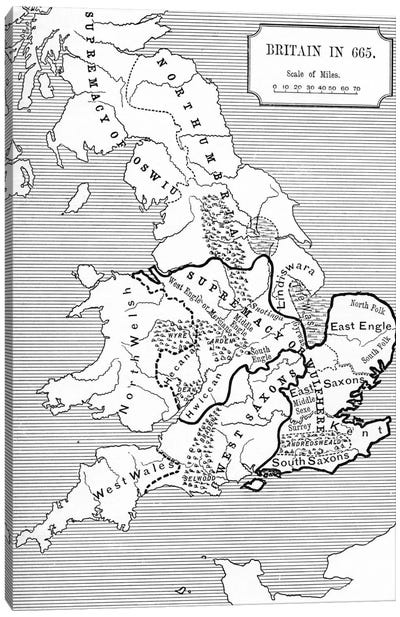 Map of Britain in 665, from The Northumbrian Kingdom 588 to 685 in 'A Short History of the English People' by J. R. Green, publi Canvas Art Print