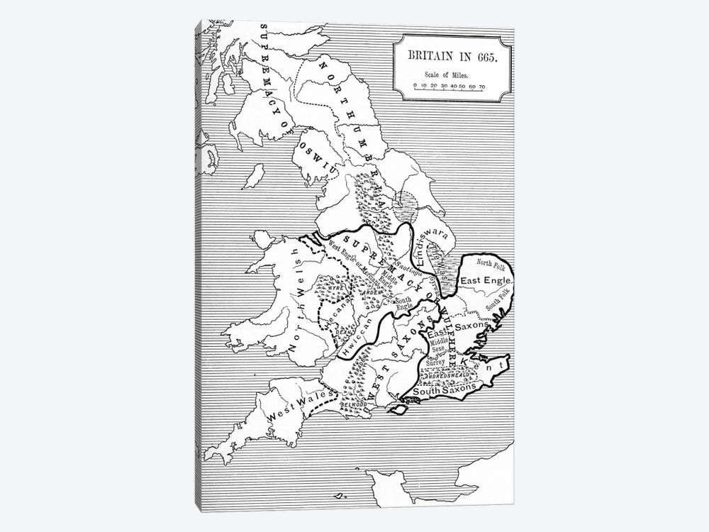 Map of Britain in 665, from The Northumbrian Kingdom 588 to 685 in 'A Short History of the English People' by J. R. Green, publi by English School 1-piece Canvas Wall Art