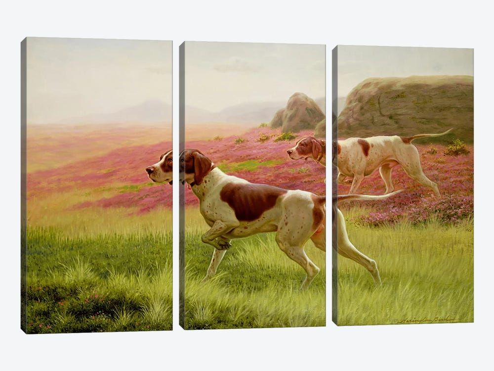 Pointers in a Landscape, 19th century by Harrington Bird 3-piece Canvas Art