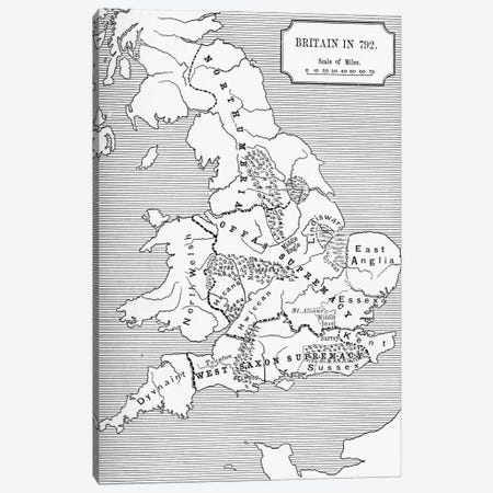 Map of Britain in 792, from The Three Kingdoms 685 to 828 in 'A Short History of the English People' by J. R. Green, published 1893  Canvas Print #BMN5330} by English School Canvas Print