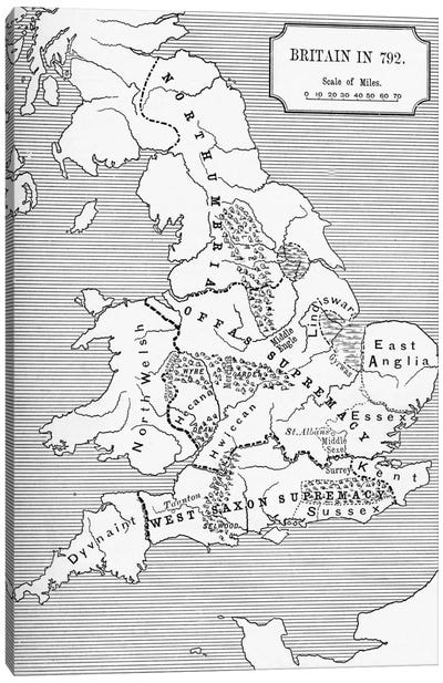 Map of Britain in 792, from The Three Kingdoms 685 to 828 in 'A Short History of the English People' by J. R. Green, published 1 Canvas Art Print