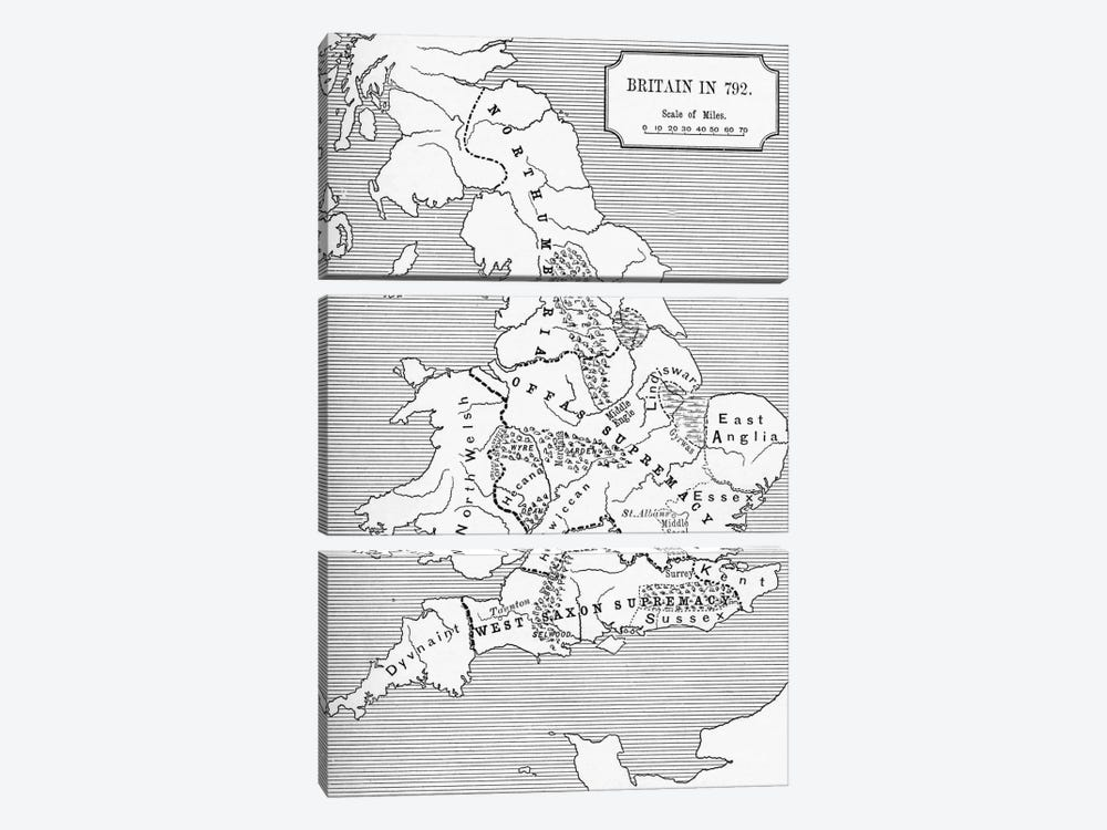 Britain In 792, The Three Kingdoms 685 To 828, A Short History of the English People by English School 3-piece Canvas Artwork