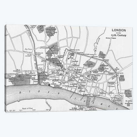 London In The 13th Century, A Short History of the English People Canvas Print #BMN5332} by English School Art Print