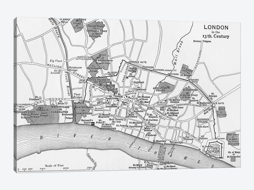 London In The 13th Century, A Short History of the English People by English School 1-piece Canvas Artwork