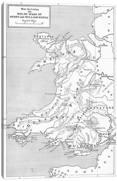 Map illustrating the Welsh wars of William Rufus and Henry I, from 'A Short History of the English People' by J. R. Green, publi Canvas Art Print