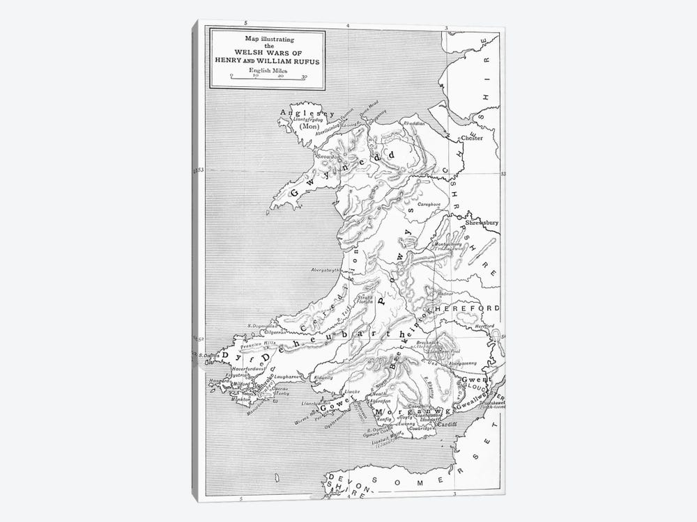 Map illustrating the Welsh wars of William Rufus and Henry I, from 'A Short History of the English People' by J. R. Green, publi by English School 1-piece Canvas Print