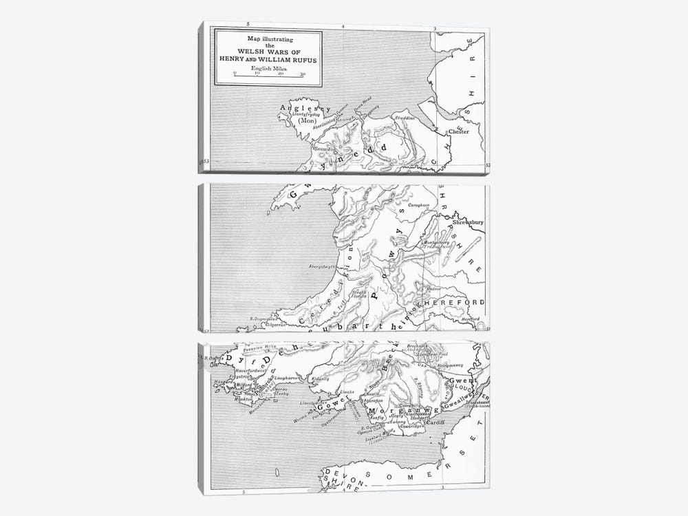 Map illustrating the Welsh wars of William Rufus and Henry I, from 'A Short History of the English People' by J. R. Green, publi by English School 3-piece Canvas Art Print