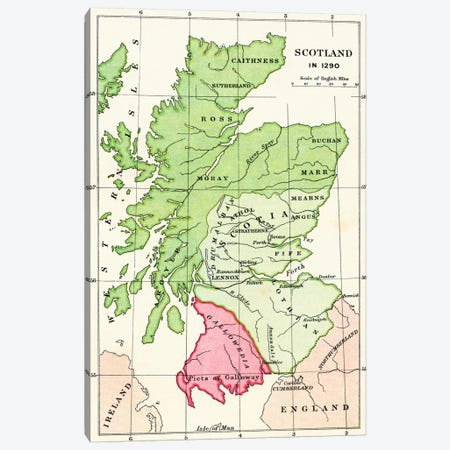 Map of Scotland in 1290, from 'A Short History of the English People' by J. R. Green, published 1893  Canvas Print #BMN5334} by English School Canvas Wall Art