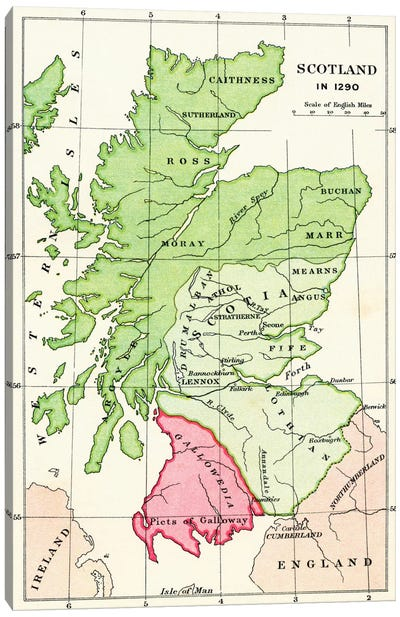 Map of Scotland in 1290, from 'A Short History of the English People' by J. R. Green, published 1893 Canvas Art Print