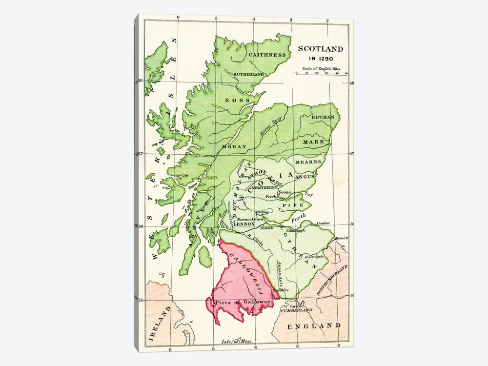 Map of Scotland in 1290, from 'A Short History of the English People' by J. R. Green, published 1893 by English School 1-piece Canvas Wall Art