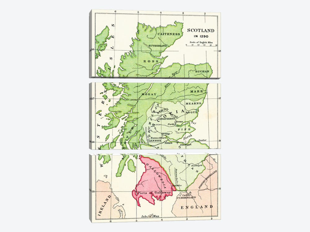 Map of Scotland in 1290, from 'A Short History of the English People' by J. R. Green, published 1893 by English School 3-piece Canvas Artwork