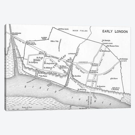 Map of London in the 11th century, from 'A Short History of the English People' by J. R. Green, published 1893  Canvas Print #BMN5337} by English School Canvas Artwork