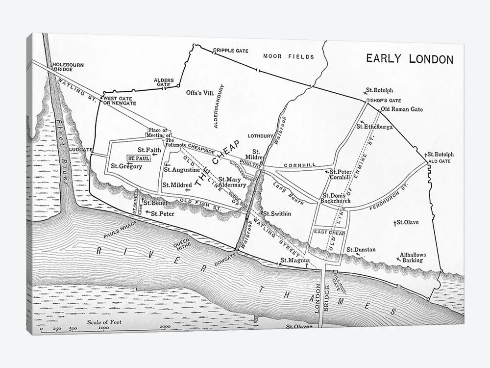 Map of London in the 11th century, from 'A Short History of the English People' by J. R. Green, published 1893  by English School 1-piece Canvas Art Print