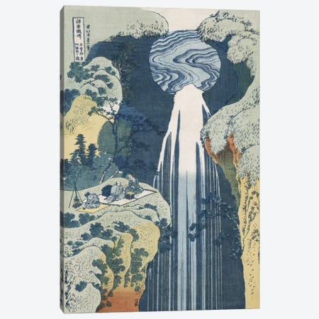 Amida Waterfall on the Kiso Highway, from the series 'A Journey to the Waterfalls of all the Provinces'  Canvas Print #BMN5340} by Katsushika Hokusai Canvas Artwork