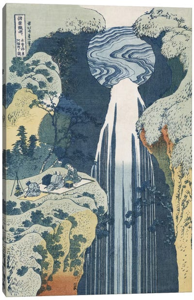 Amida Waterfall on the Kiso Highway, from the series 'A Journey to the Waterfalls of all the Provinces' by Katsushika Hokusai Canvas Artwork