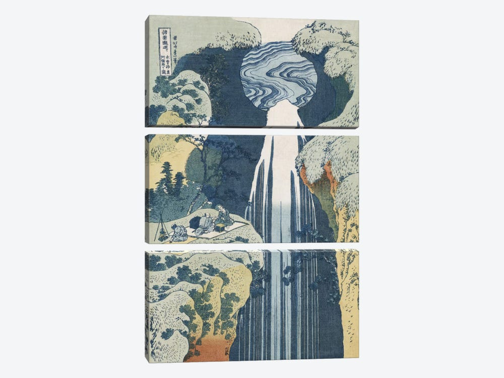 Amida Waterfall on the Kiso Highway, from the series 'A Journey to the Waterfalls of all the Provinces'  by Katsushika Hokusai 3-piece Canvas Art Print