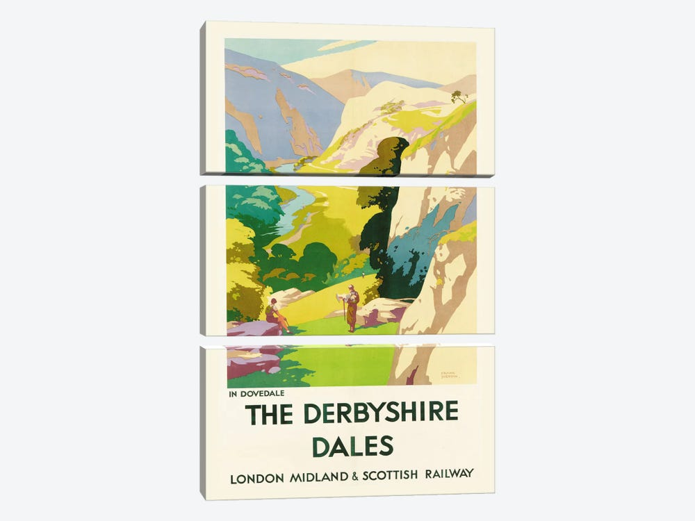 'The Derbyshire Dales', poster advertising London Midland & Scottish Railway by Frank Sherwin 3-piece Canvas Artwork