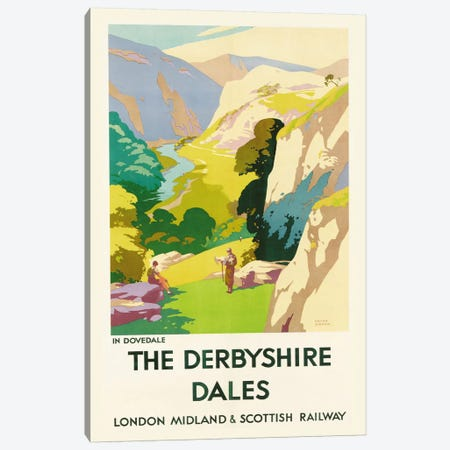 'The Derbyshire Dales', poster advertising London Midland & Scottish Railway  Canvas Print #BMN5341} by Frank Sherwin Canvas Wall Art