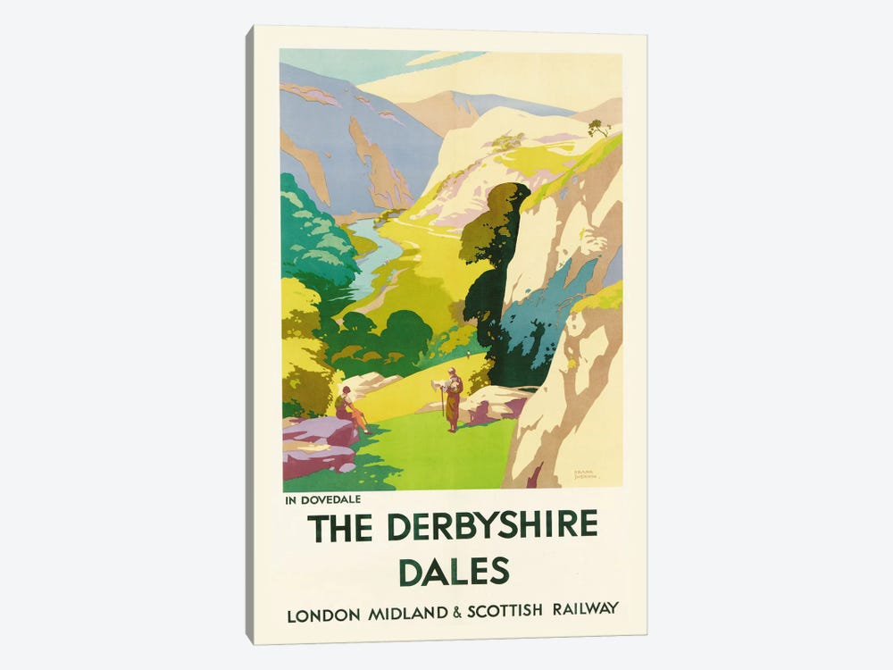 'The Derbyshire Dales', poster advertising London Midland & Scottish Railway  by Frank Sherwin 1-piece Canvas Wall Art