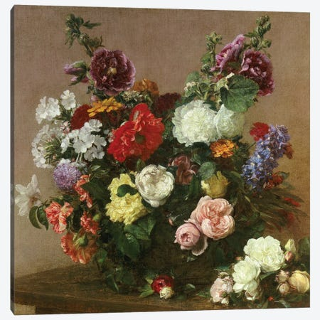 A Bouquet of Mixed Flowers, 1881  Canvas Print #BMN5342} by Ignace Henri Jean Theodore Fantin-Latour Canvas Art