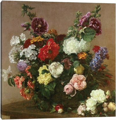 A Bouquet of Mixed Flowers, 1881  Canvas Art Print