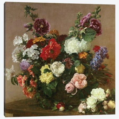 A Bouquet of Mixed Flowers, 1881  Canvas Print #BMN5342} by Ignace Henri Jean Theodore Fantin-Latour Canvas Art
