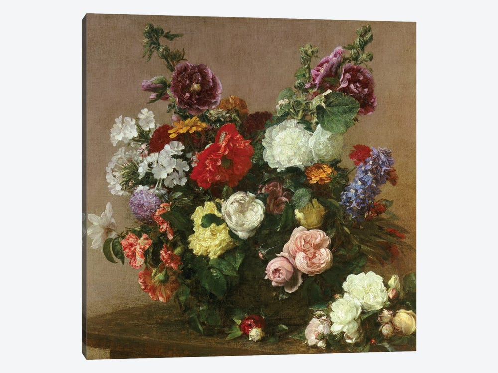 A Bouquet of Mixed Flowers, 1881  by Ignace Henri Jean Theodore Fantin-Latour 1-piece Canvas Print