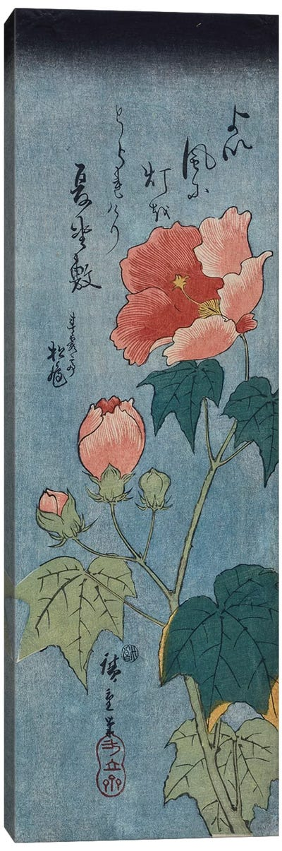 Flowering Poppies, Tanzaku  Canvas Art Print