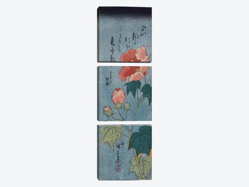 Flowering Poppies, Tanzaku  by Utagawa Hiroshige 3-piece Canvas Wall Art