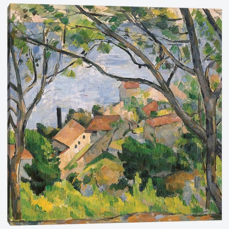 View of L'Estaque Through the Trees, 1879  Canvas Print #BMN5344} by Paul Cezanne Art Print