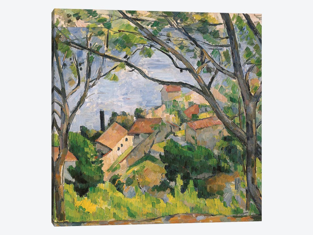View of L'Estaque Through the Trees, 1879  by Paul Cezanne 1-piece Canvas Print