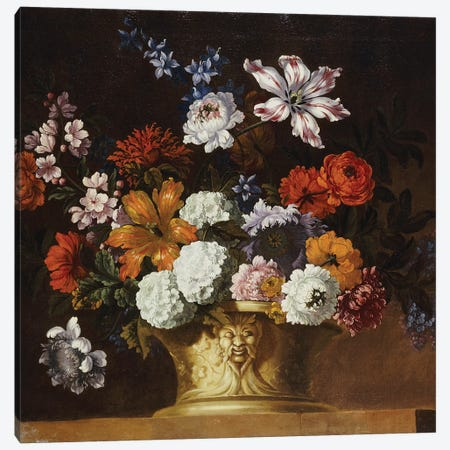 Tulips, snowballs and other flowers in a sculpted urn on a ledge  Canvas Print #BMN5347} by Pieter Casteels Canvas Print