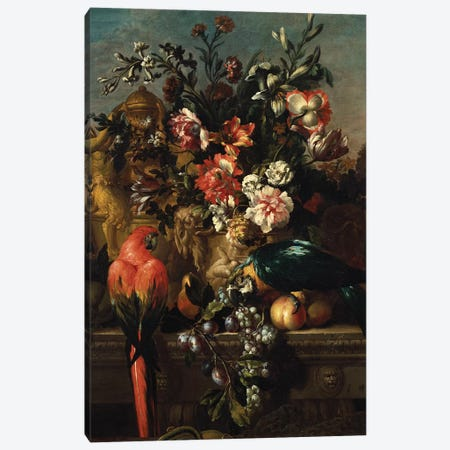 Carnations and other flowers with parrots on a pedestal  Canvas Print #BMN5348} by Pieter Casteels Canvas Art