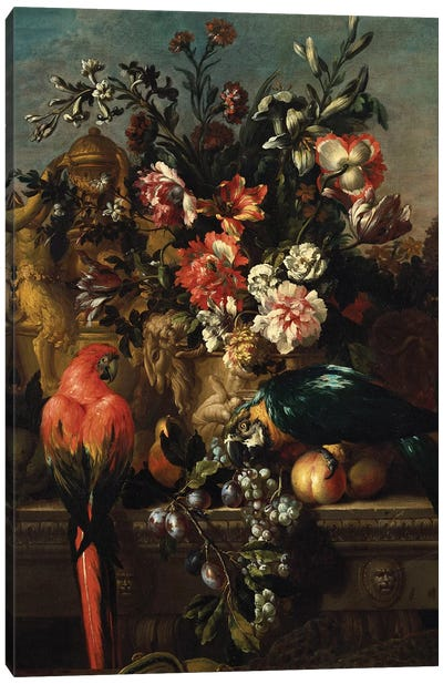 Carnations and other flowers with parrots on a pedestal  Canvas Art Print