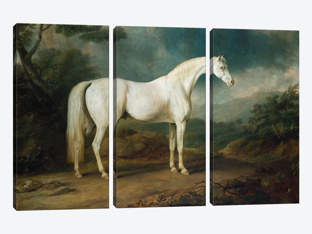 White horse in a wooded landscape, 1791 by Sawrey Gilpin 3-piece Canvas Artwork