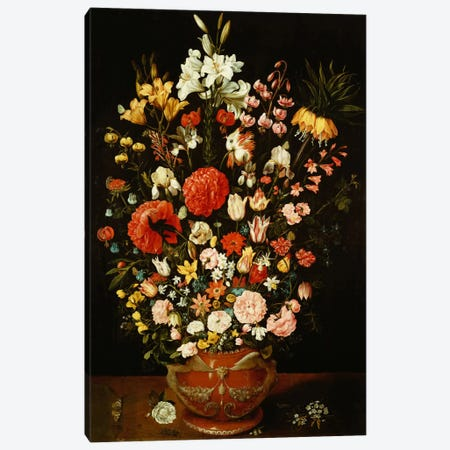Tulips, lilies, irises, roses, carnations, peonies and other flowers in a sculpted terracotta urn  Canvas Print #BMN5352} by Osias the Elder Beert Art Print
