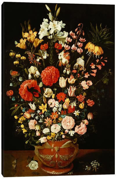 Tulips, lilies, irises, roses, carnations, peonies and other flowers in a sculpted terracotta urn  Canvas Print #BMN5352