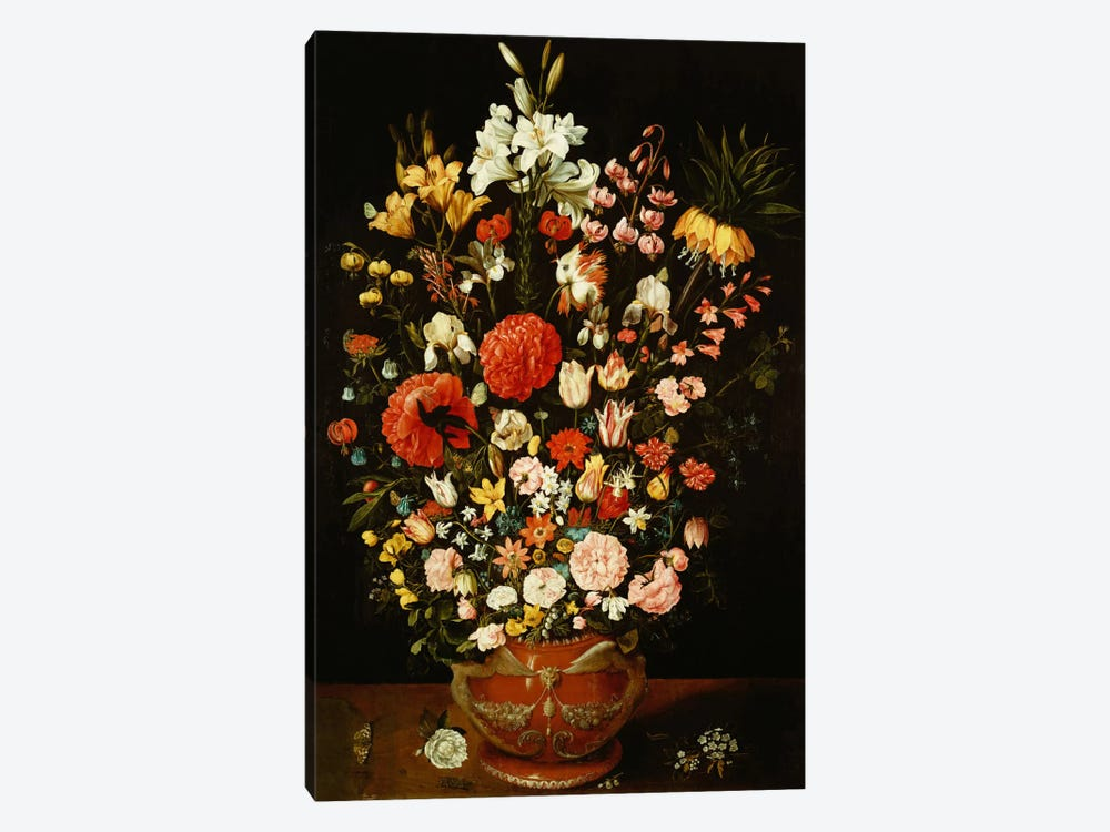 Tulips, lilies, irises, roses, carnations, peonies and other flowers in a sculpted terracotta urn  by Osias the Elder Beert 1-piece Canvas Wall Art