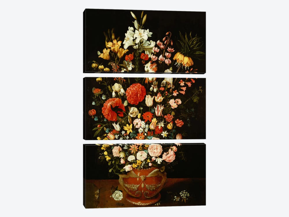 Tulips, lilies, irises, roses, carnations, peonies and other flowers in a sculpted terracotta urn  by Osias the Elder Beert 3-piece Canvas Wall Art